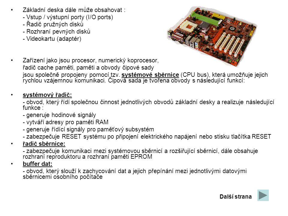 Základní deska dále může obsahovat : - Vstup / výstupní porty (I/O ports) - Řadič pružných disků - Rozhraní pevných disků - Videokartu (adaptér) Zaříz