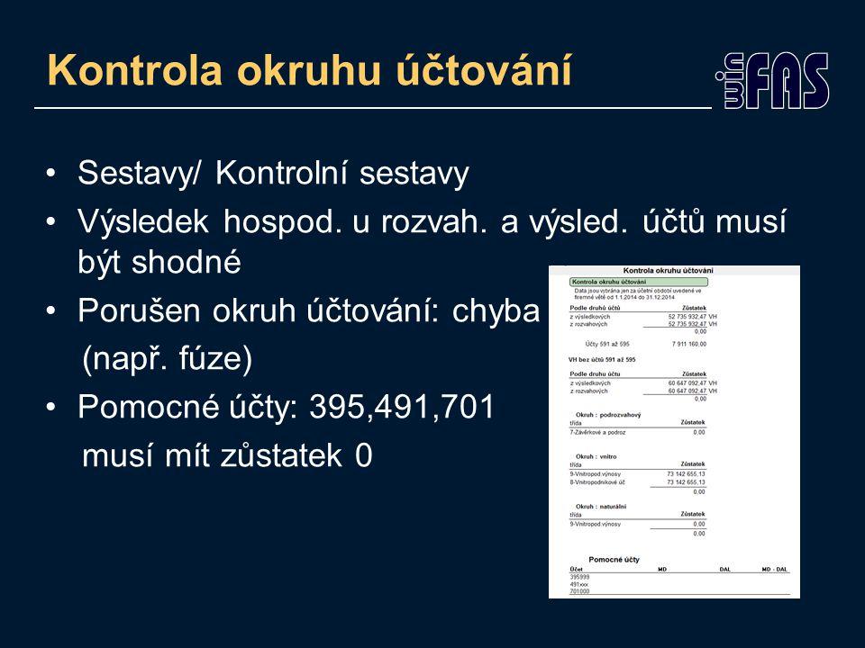 Sestavy/ Kontrolní sestavy Výsledek hospod. u rozvah.