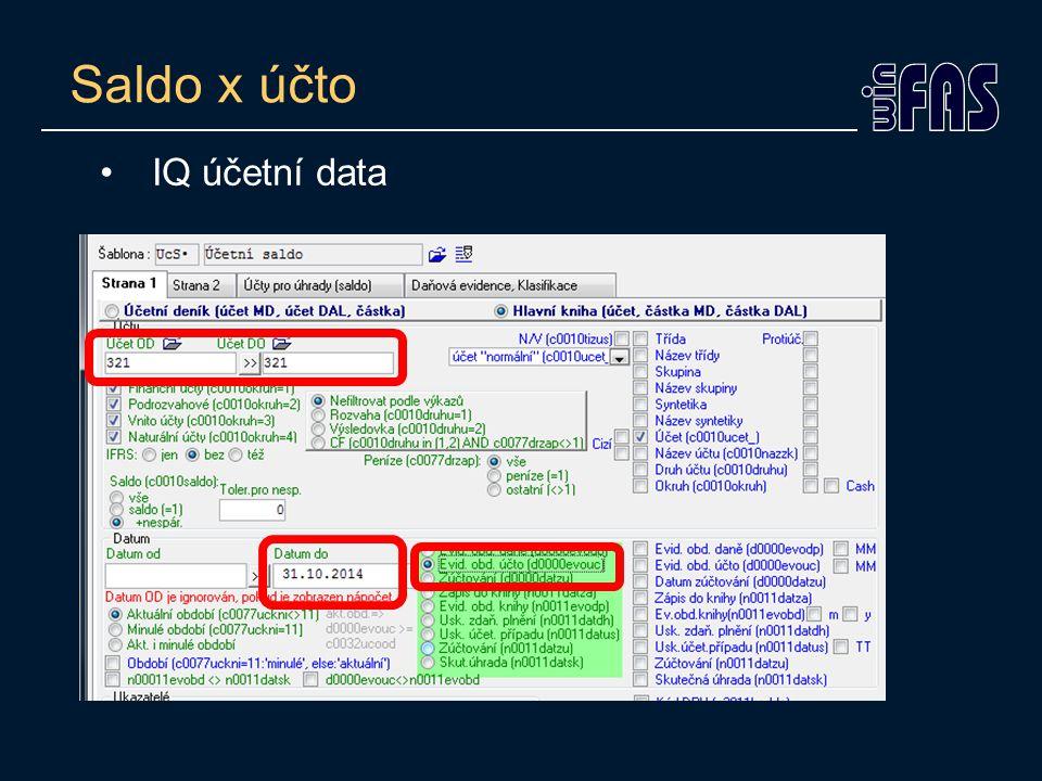 Saldo x účto IQ účetní data
