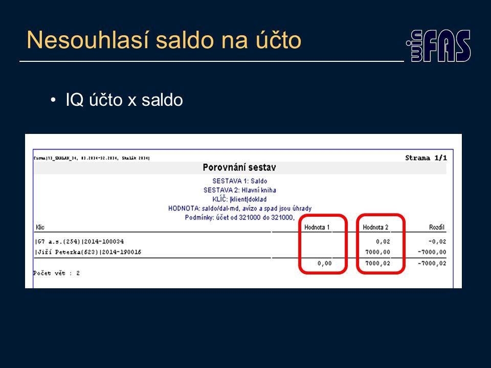 Naplnění řádku výkazu Zobrazení naplnění daného řádku účty: -Účetní ukazatele (*132) -Přehled použití účtu ve výkaze (sestava) Zobrazení s konkrétními daty: -IQ účetní data -IQ účetní data zaklíčovaná