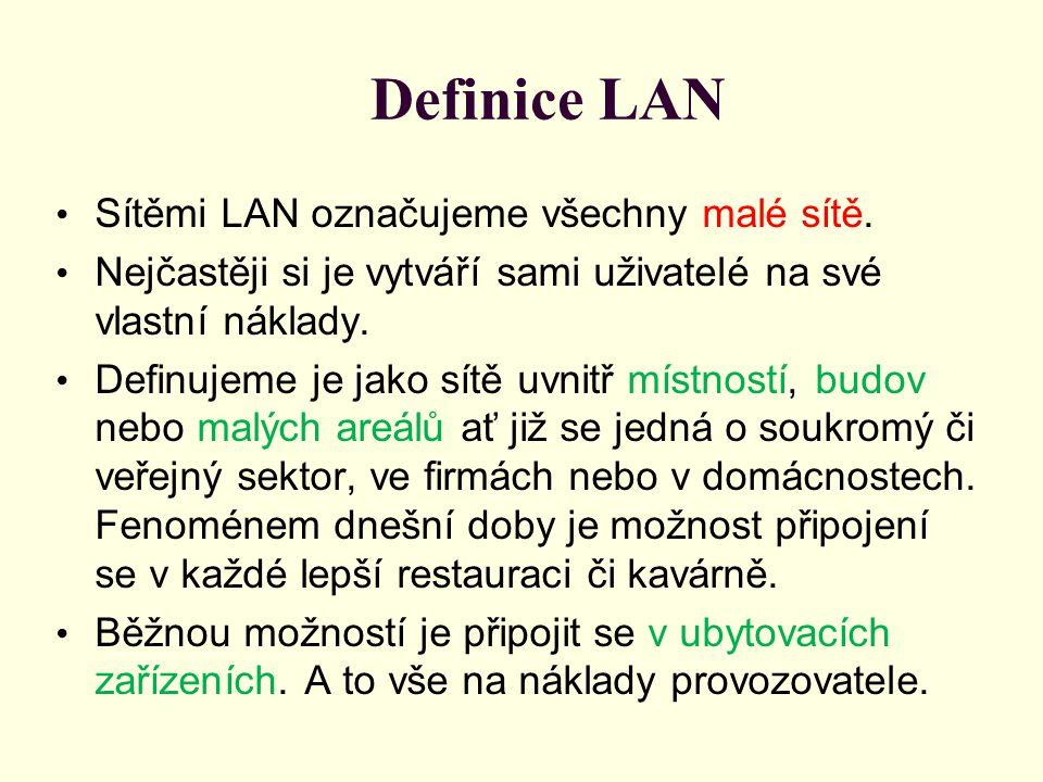 Definice LAN Sítěmi LAN označujeme všechny malé sítě.