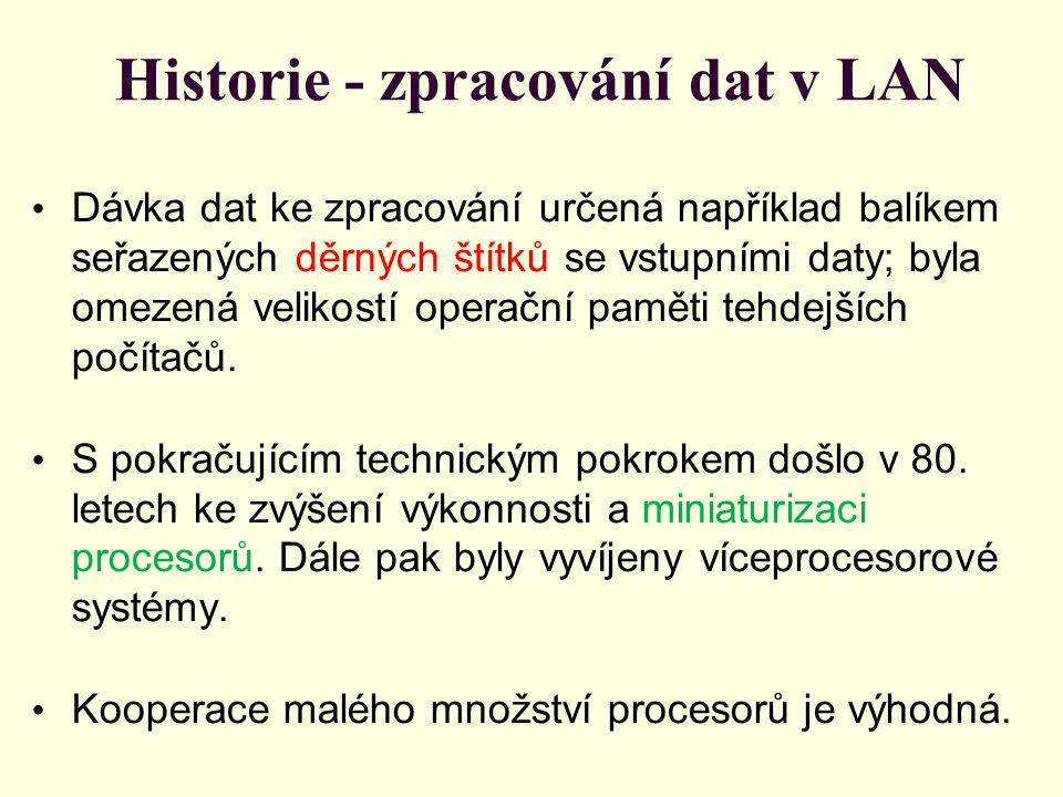 Historie - zpracování dat v LAN Dávka dat ke zpracování určená například balíkem seřazených děrných štítků se vstupními daty; byla omezená velikostí operační paměti tehdejších počítačů.