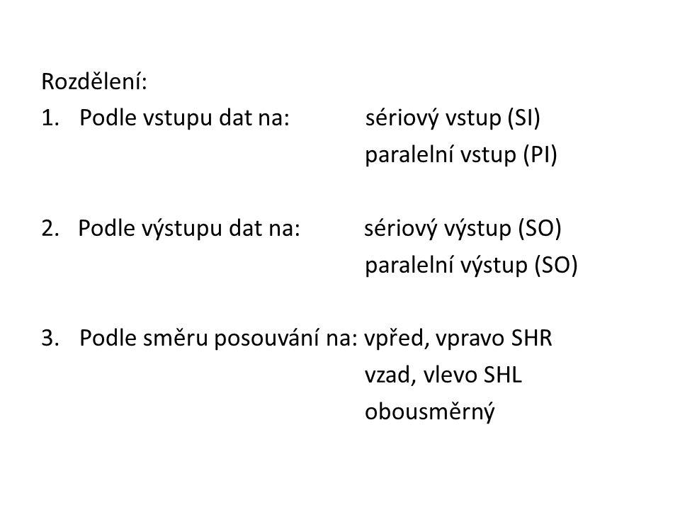 Rozdělení: 1.Podle vstupu dat na: sériový vstup (SI) paralelní vstup (PI) 2. Podle výstupu dat na: sériový výstup (SO) paralelní výstup (SO) 3.Podle s