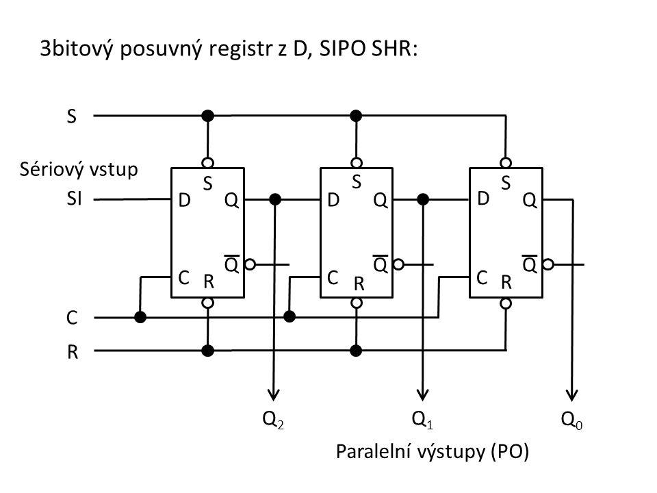 Příklad: Navrhněte 3bitový posuvný registr z klopných obvodů D.