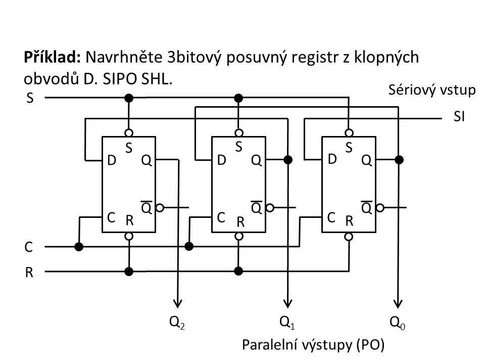 Příklad: Navrhněte 3bitový posuvný registr z klopných obvodů D. SIPO SHL. S Paralelní výstupy (PO) Sériový vstup C D Q Q C DQ Q C D Q Q C Q2Q2 Q1Q1 Q0