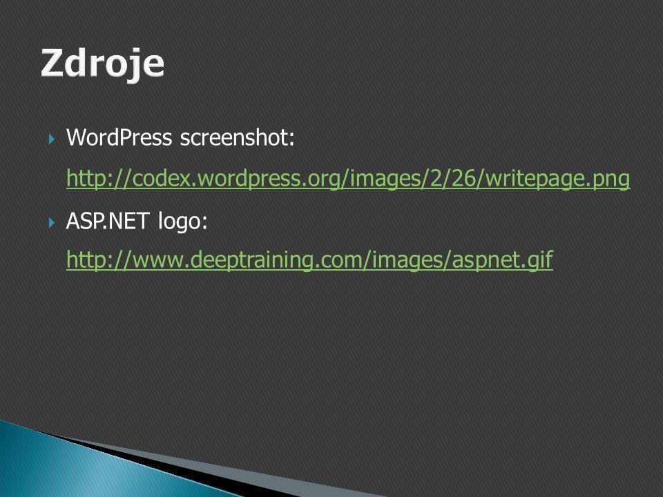  WordPress screenshot: http://codex.wordpress.org/images/2/26/writepage.png http://codex.wordpress.org/images/2/26/writepage.png  ASP.NET logo: http://www.deeptraining.com/images/aspnet.gif http://www.deeptraining.com/images/aspnet.gif