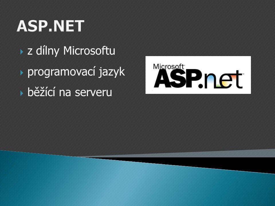 ASP.NET  z dílny Microsoftu  programovací jazyk  běžící na serveru