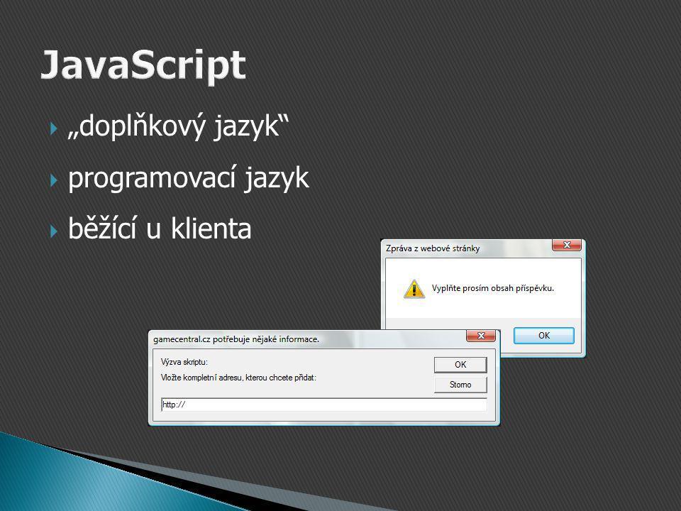 """ """"doplňkový jazyk  programovací jazyk  běžící u klienta"""