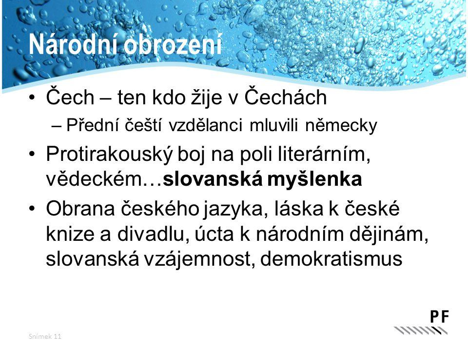 Národní obrození Čech – ten kdo žije v Čechách –Přední čeští vzdělanci mluvili německy Protirakouský boj na poli literárním, vědeckém…slovanská myšlen
