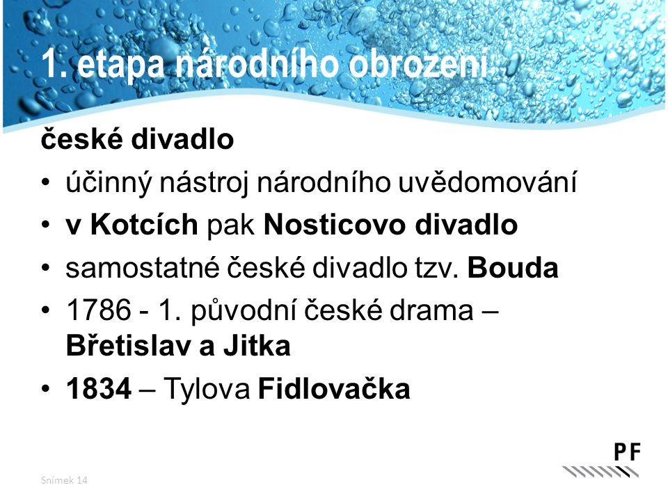 1. etapa národního obrození české divadlo účinný nástroj národního uvědomování v Kotcích pak Nosticovo divadlo samostatné české divadlo tzv. Bouda 178