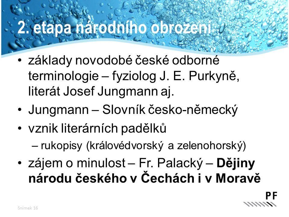 2. etapa národního obrození základy novodobé české odborné terminologie – fyziolog J. E. Purkyně, literát Josef Jungmann aj. Jungmann – Slovník česko-