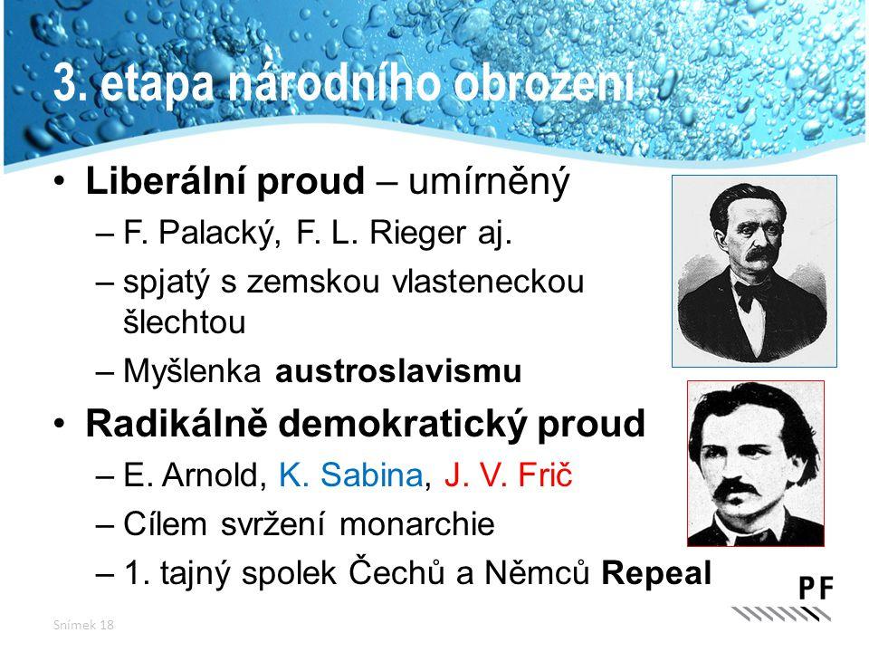 3. etapa národního obrození Liberální proud – umírněný –F. Palacký, F. L. Rieger aj. –spjatý s zemskou vlasteneckou šlechtou –Myšlenka austroslavismu