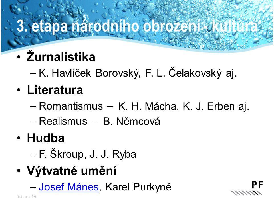 3. etapa národního obrození - kultura Žurnalistika –K. Havlíček Borovský, F. L. Čelakovský aj. Literatura –Romantismus – –Realismus – Hudba –F. Škroup