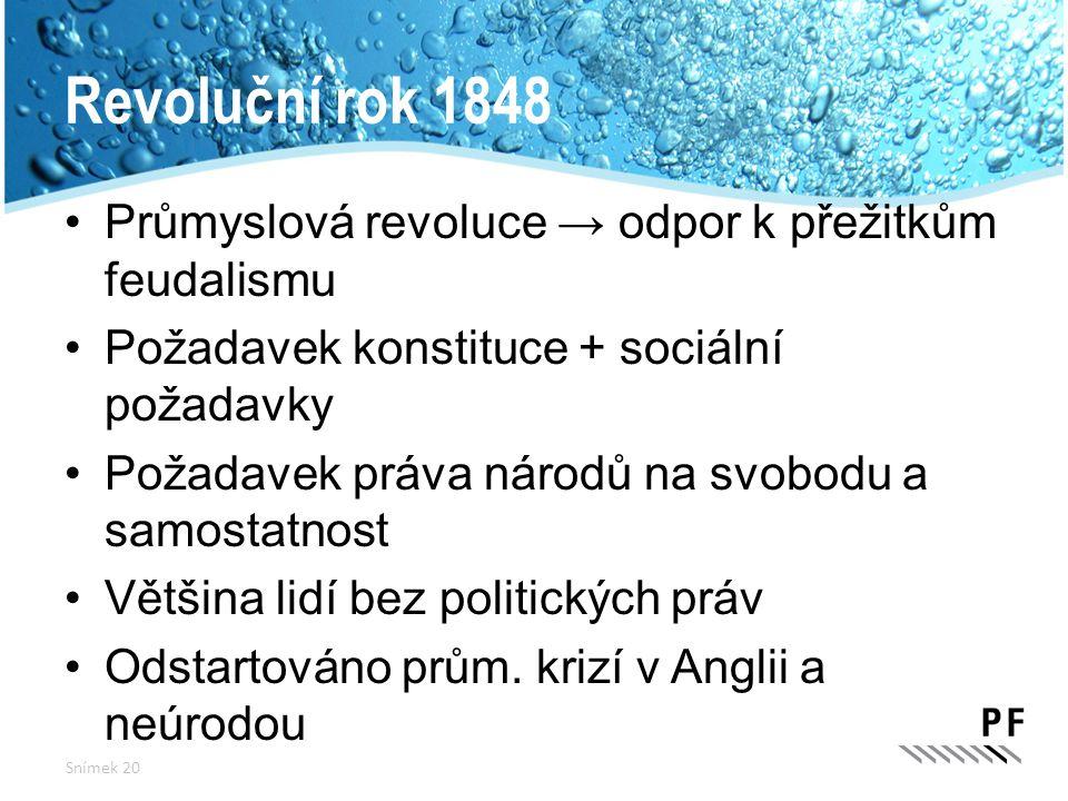 Revoluční rok 1848 Průmyslová revoluce → odpor k přežitkům feudalismu Požadavek konstituce + sociální požadavky Požadavek práva národů na svobodu a sa