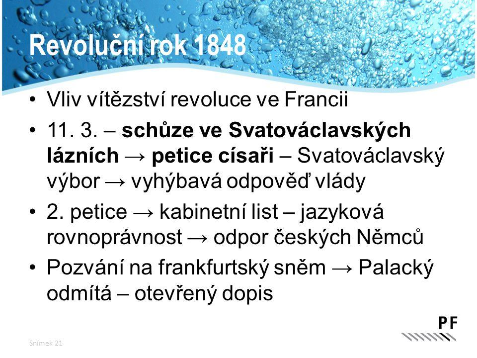 Revoluční rok 1848 Vliv vítězství revoluce ve Francii 11. 3. – schůze ve Svatováclavských lázních → petice císaři – Svatováclavský výbor → vyhýbavá od