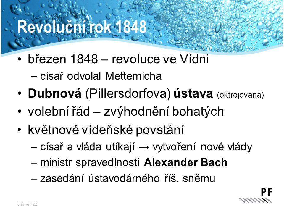 Revoluční rok 1848 březen 1848 – revoluce ve Vídni –císař odvolal Metternicha Dubnová (Pillersdorfova) ústava (oktrojovaná) volební řád – zvýhodnění b
