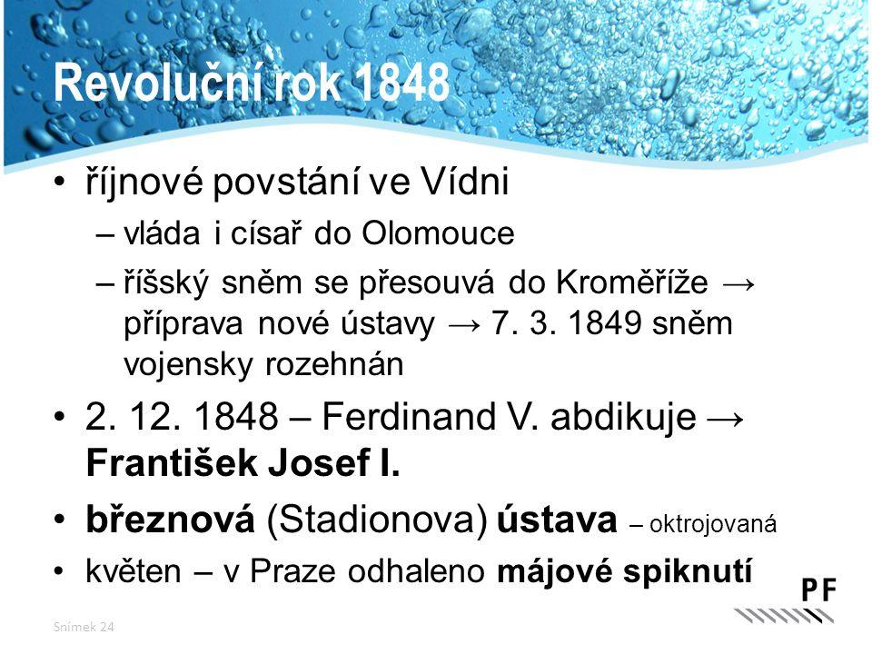 Revoluční rok 1848 říjnové povstání ve Vídni –vláda i císař do Olomouce –říšský sněm se přesouvá do Kroměříže → příprava nové ústavy → 7. 3. 1849 sněm