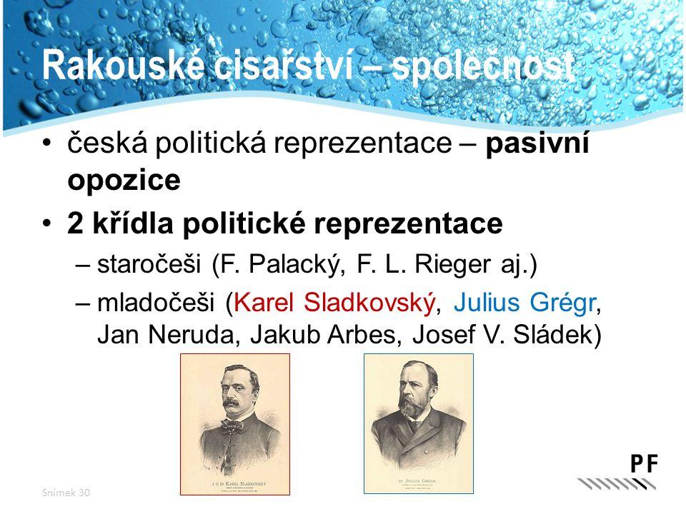 Rakouské cisařství – společnost česká politická reprezentace – pasivní opozice 2 křídla politické reprezentace –staročeši (F. Palacký, F. L. Rieger aj