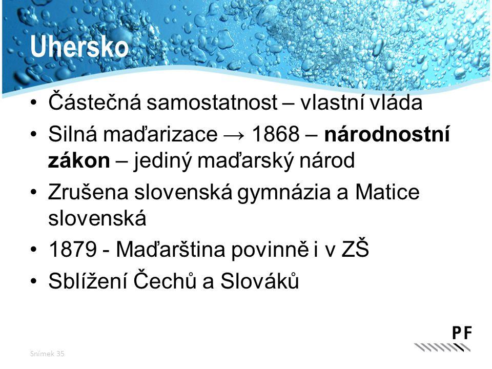 Uhersko Částečná samostatnost – vlastní vláda Silná maďarizace → 1868 – národnostní zákon – jediný maďarský národ Zrušena slovenská gymnázia a Matice