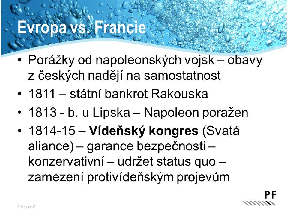 Evropa vs. Francie Porážky od napoleonských vojsk – obavy z českých nadějí na samostatnost 1811 – státní bankrot Rakouska 1813 - b. u Lipska – Napoleo