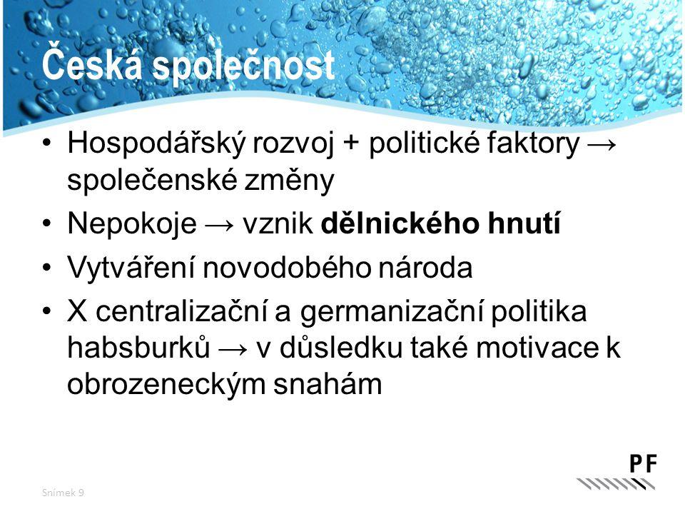 Česká společnost Hospodářský rozvoj + politické faktory → společenské změny Nepokoje → vznik dělnického hnutí Vytváření novodobého národa X centraliza