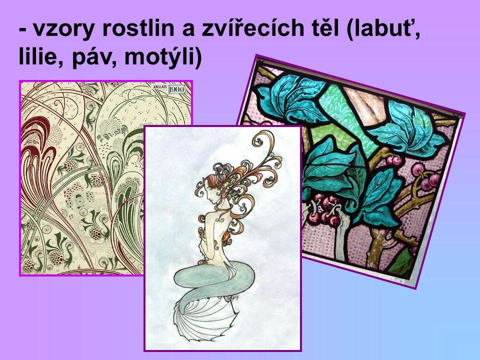 - vzory rostlin a zvířecích těl (labuť, lilie, páv, motýli)