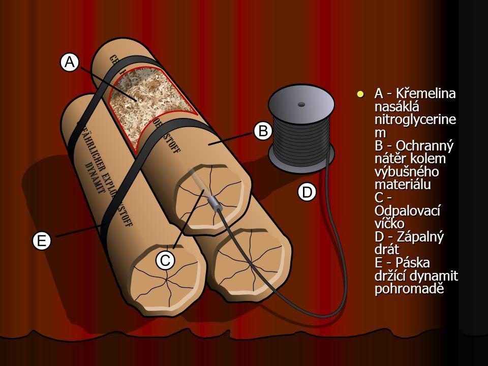 A - Křemelina nasáklá nitroglycerine m B - Ochranný nátěr kolem výbušného materiálu C - Odpalovací víčko D - Zápalný drát E - Páska držící dynamit pohromadě A - Křemelina nasáklá nitroglycerine m B - Ochranný nátěr kolem výbušného materiálu C - Odpalovací víčko D - Zápalný drát E - Páska držící dynamit pohromadě
