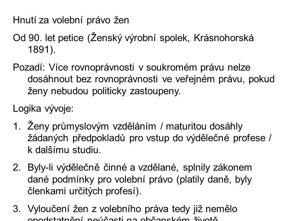 Hnutí za volební právo žen Od 90. let petice (Ženský výrobní spolek, Krásnohorská 1891). Pozadí: Více rovnoprávnosti v soukromém právu nelze dosáhnout