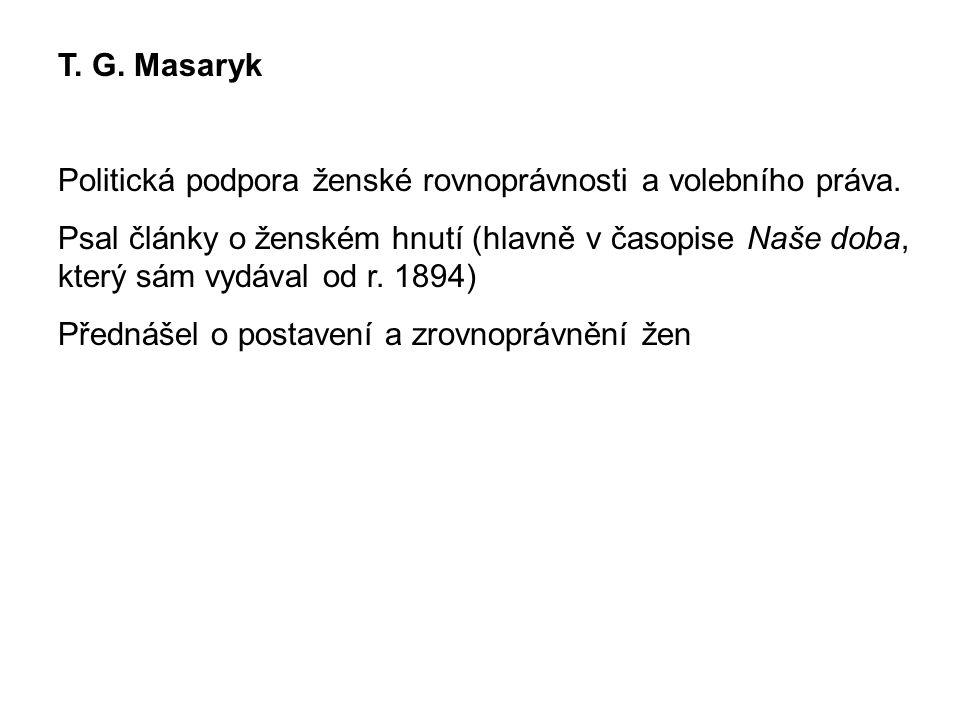 T. G. Masaryk Politická podpora ženské rovnoprávnosti a volebního práva. Psal články o ženském hnutí (hlavně v časopise Naše doba, který sám vydával o