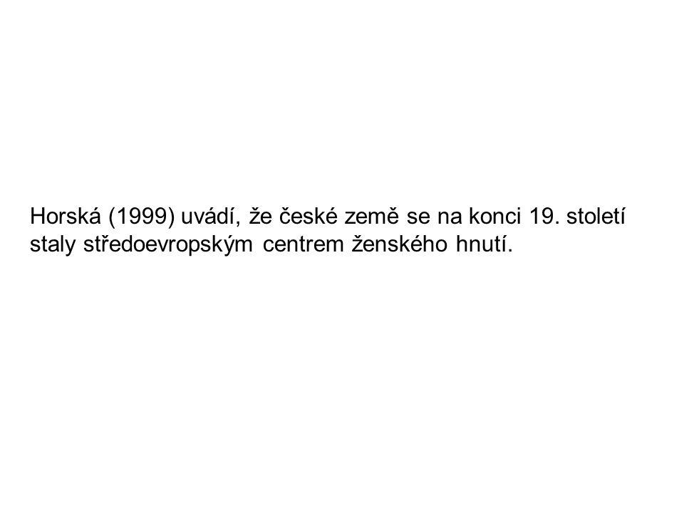 Horská (1999) uvádí, že české země se na konci 19. století staly středoevropským centrem ženského hnutí.