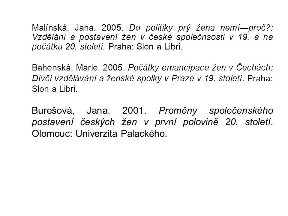 Malínská, Jana. 2005. Do politiky prý žena nemí—proč?: Vzdělání a postavení žen v české společnsosti v 19. a na počátku 20. století. Praha: Slon a Lib
