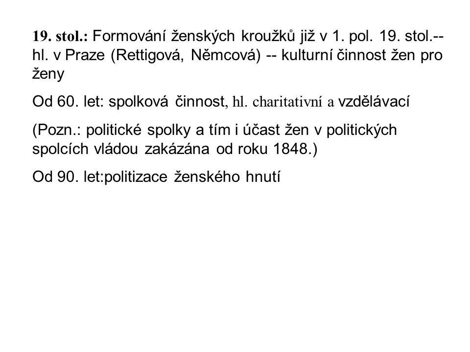 19. stol.: Formování ženských kroužků již v 1. pol. 19. stol.-- hl. v Praze (Rettigová, Němcová) -- kulturní činnost žen pro ženy Od 60. let: spolková