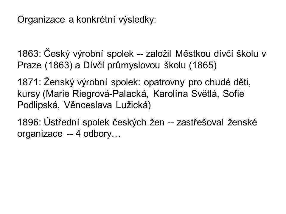 Organizace a konkrétní výsledky : 1863: Český výrobní spolek -- založil Městkou dívčí školu v Praze (1863) a Dívčí průmyslovou školu (1865) 1871: Žens