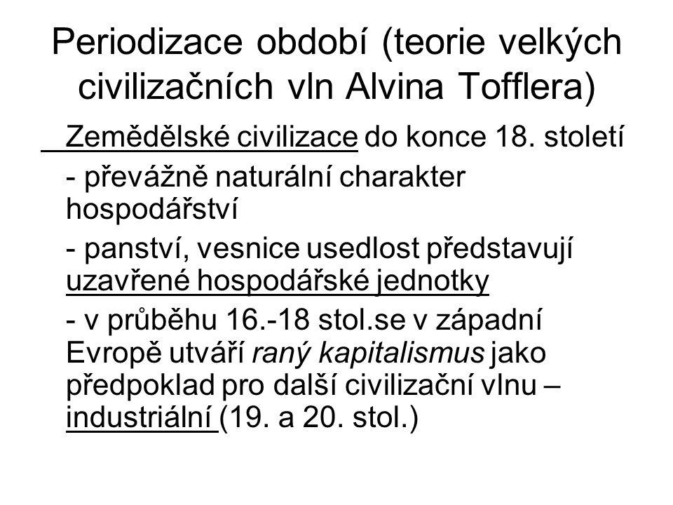 Periodizace období (teorie velkých civilizačních vln Alvina Tofflera) Zemědělské civilizace do konce 18.