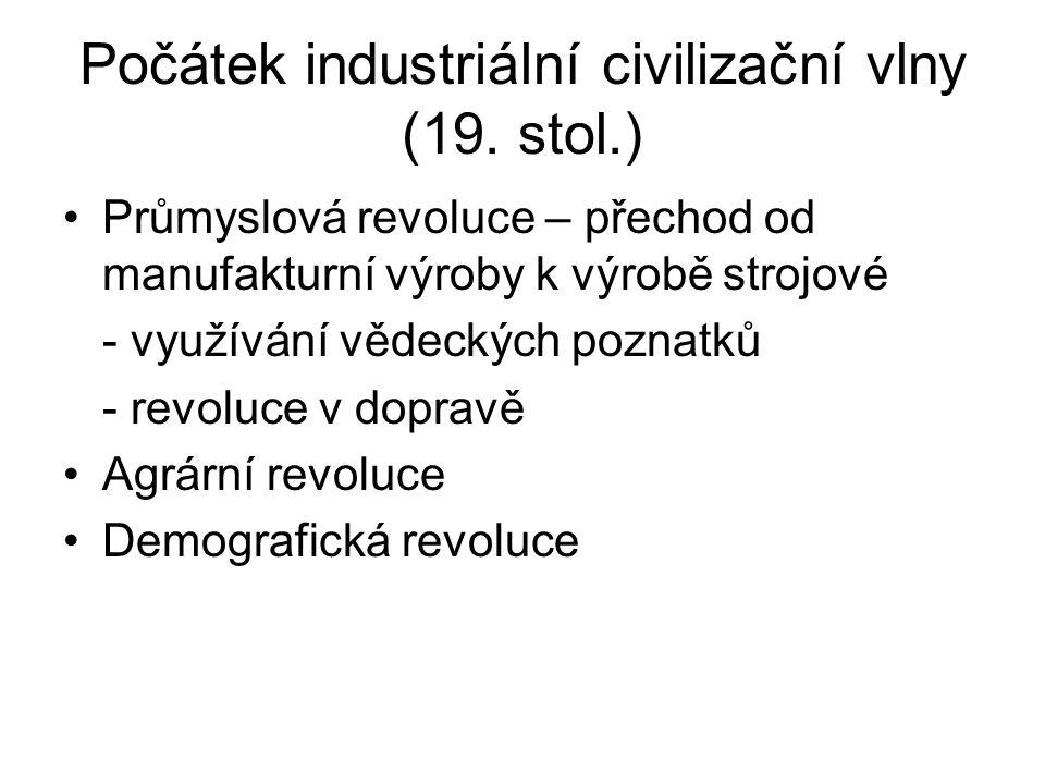 Počátek industriální civilizační vlny (19.