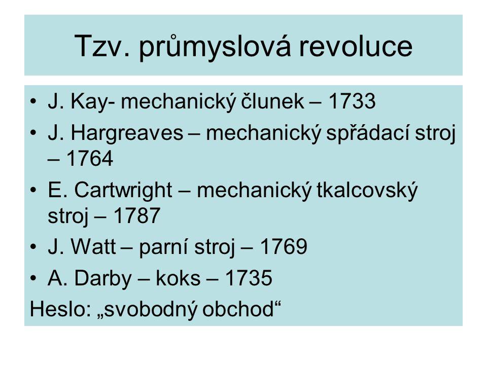 Tzv.průmyslová revoluce J. Kay- mechanický člunek – 1733 J.
