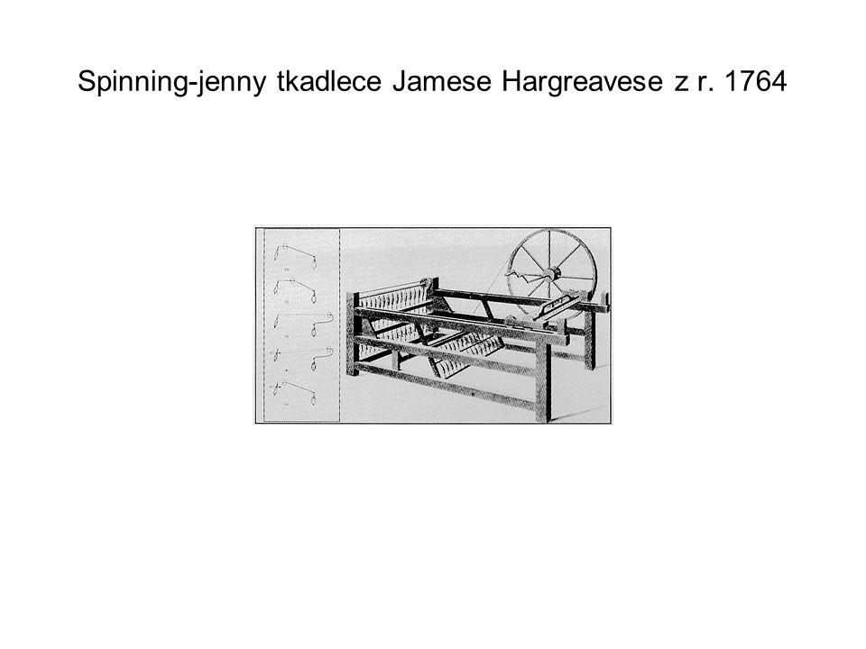 Spinning-jenny tkadlece Jamese Hargreavese z r. 1764