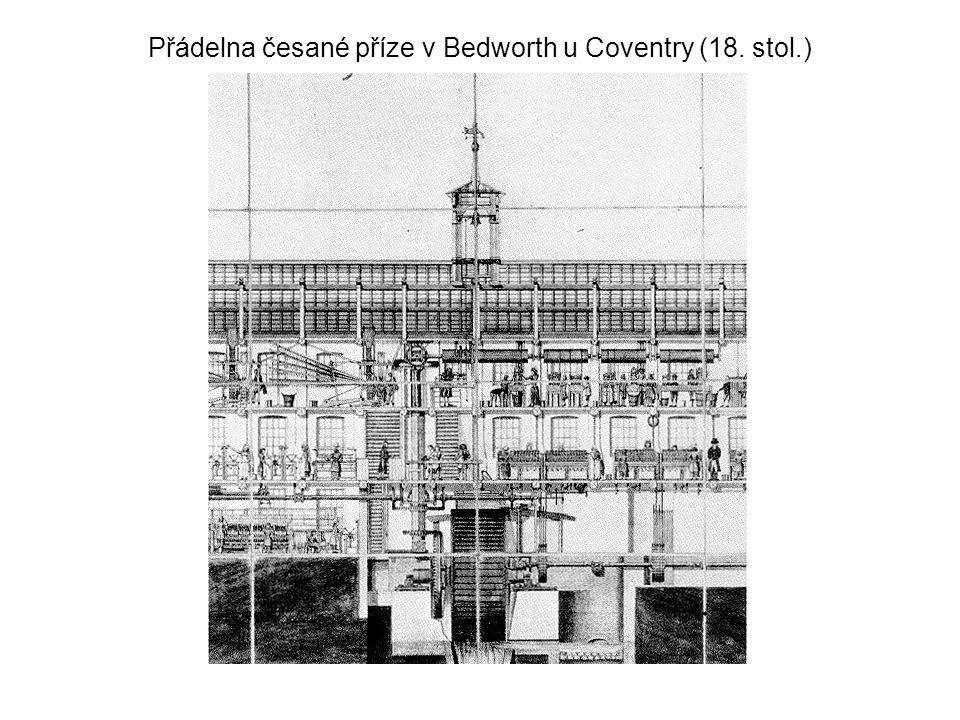 Přádelna česané příze v Bedworth u Coventry (18. stol.)