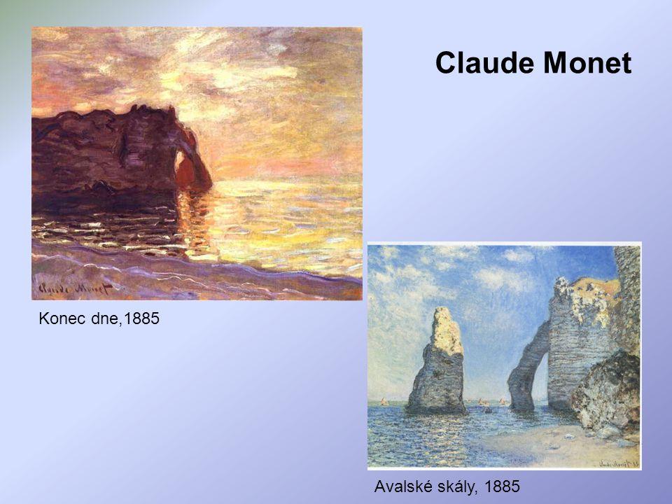 Konec dne,1885 Avalské skály, 1885 Claude Monet