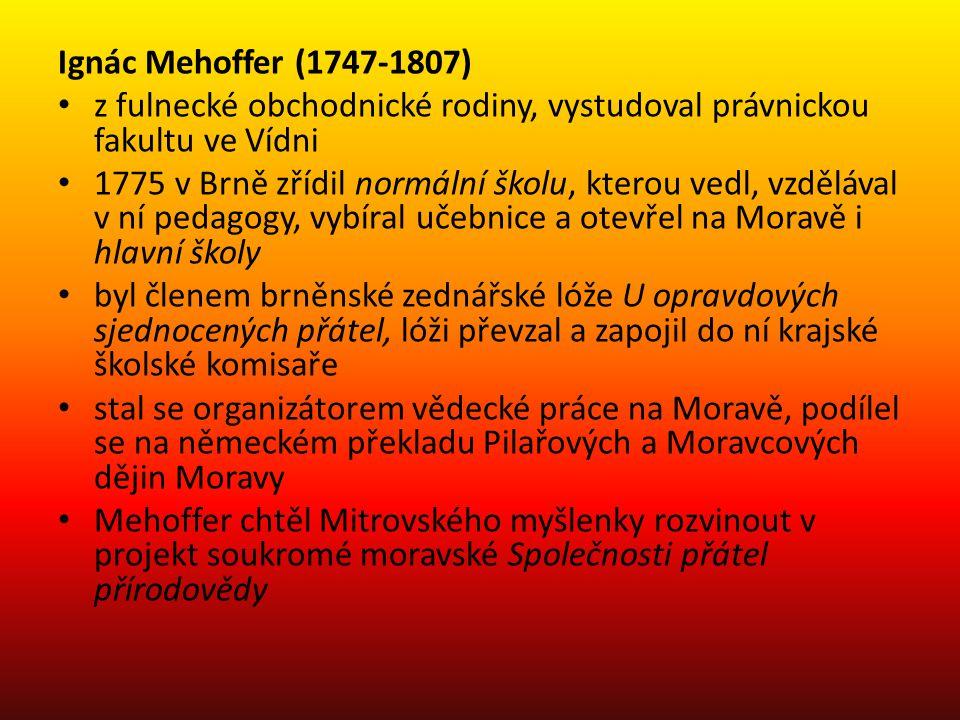 Ignác Mehoffer (1747-1807) z fulnecké obchodnické rodiny, vystudoval právnickou fakultu ve Vídni 1775 v Brně zřídil normální školu, kterou vedl, vzděl
