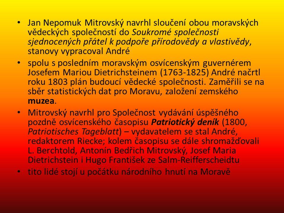 Jan Nepomuk Mitrovský navrhl sloučení obou moravských vědeckých společností do Soukromé společnosti sjednocených přátel k podpoře přírodovědy a vlasti