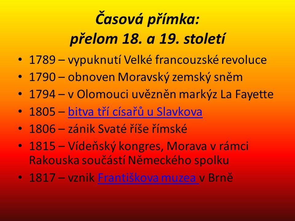Časová přímka: přelom 18. a 19. století 1789 – vypuknutí Velké francouzské revoluce 1790 – obnoven Moravský zemský sněm 1794 – v Olomouci uvězněn mark
