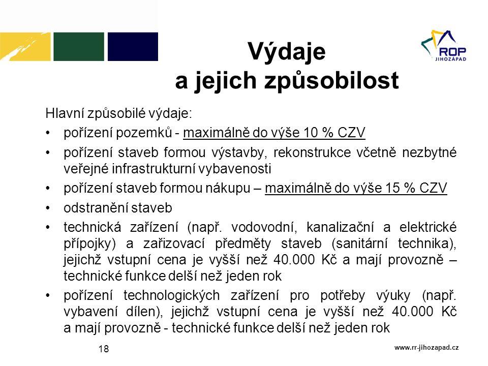 18 Výdaje a jejich způsobilost www.rr-jihozapad.cz Hlavní způsobilé výdaje: pořízení pozemků - maximálně do výše 10 % CZV pořízení staveb formou výsta