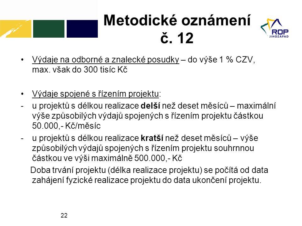 22 Metodické oznámení č.12 Výdaje na odborné a znalecké posudky – do výše 1 % CZV, max.