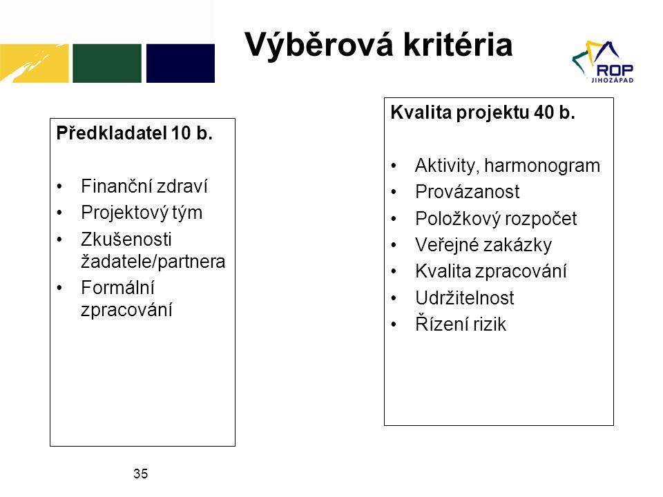 35 Výběrová kritéria Předkladatel 10 b.