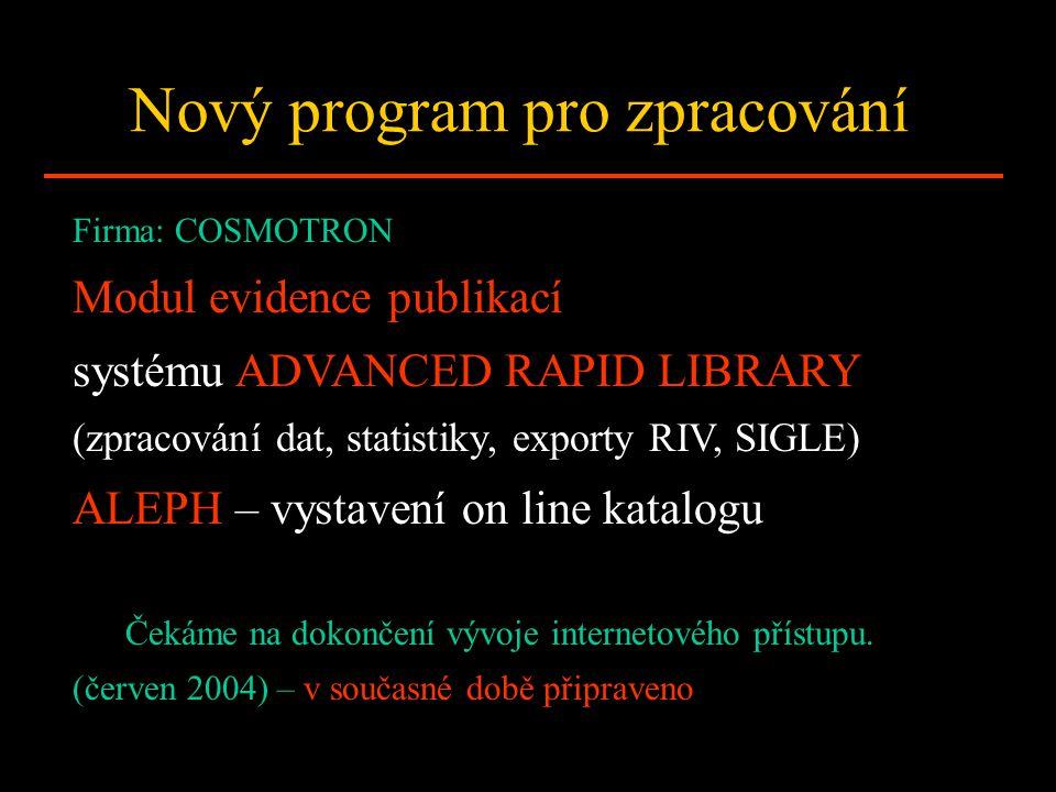 Nový program pro zpracování Firma: COSMOTRON Modul evidence publikací systému ADVANCED RAPID LIBRARY (zpracování dat, statistiky, exporty RIV, SIGLE)