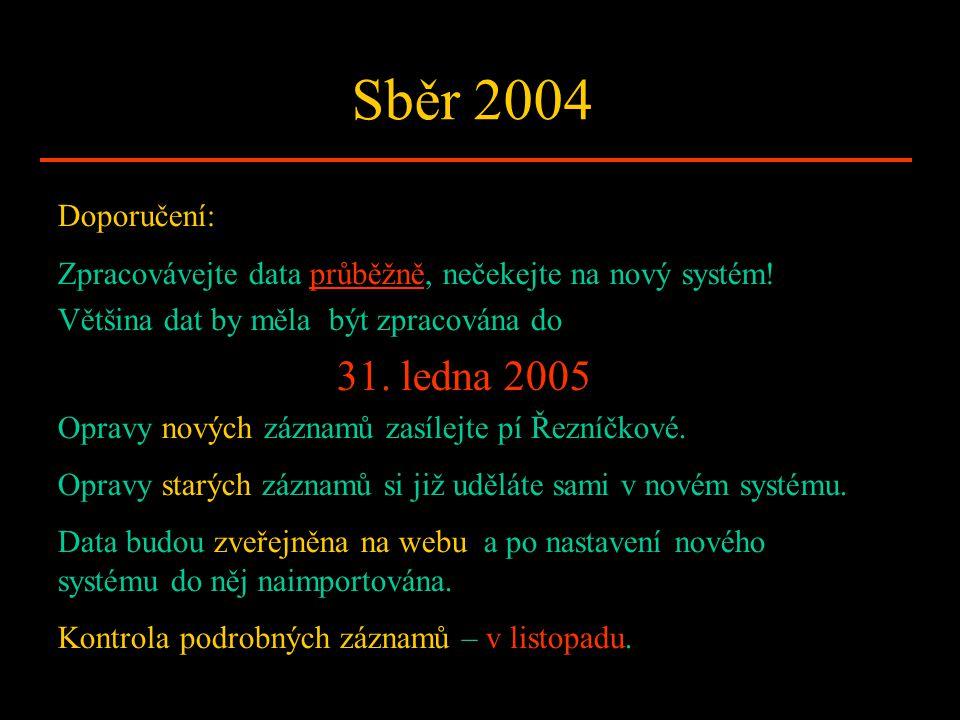 Sběr 2004 Doporučení: Zpracovávejte data průběžně, nečekejte na nový systém! Většina dat by měla být zpracována do 31. ledna 2005 Opravy nových záznam