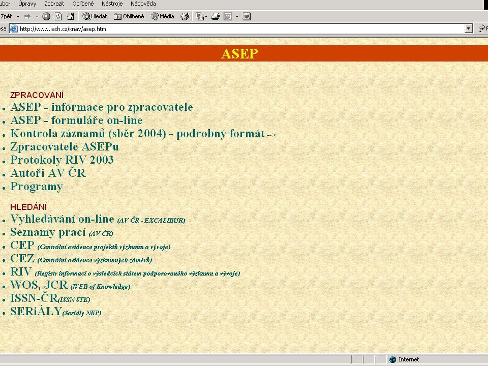 Sběr dat 2003 Data byla odevzdána: 1)Radě vlády 2)Poskytovatelům – (ministerstvům a grantovým agenturám) Data v databázi RIV: http://www.vlada.cz/1250/rvv/riv/rivfind.sqw Protokoly o odevzdání dat: http://www.iach.cz/knav/protokoly/prot03.htm