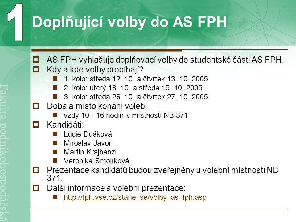 Doplňující volby do AS FPH  AS FPH vyhlašuje doplňovací volby do studentské části AS FPH.