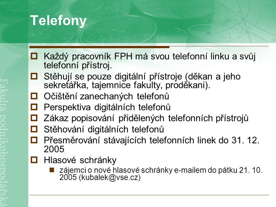 Telefony  Každý pracovník FPH má svou telefonní linku a svůj telefonní přístroj.